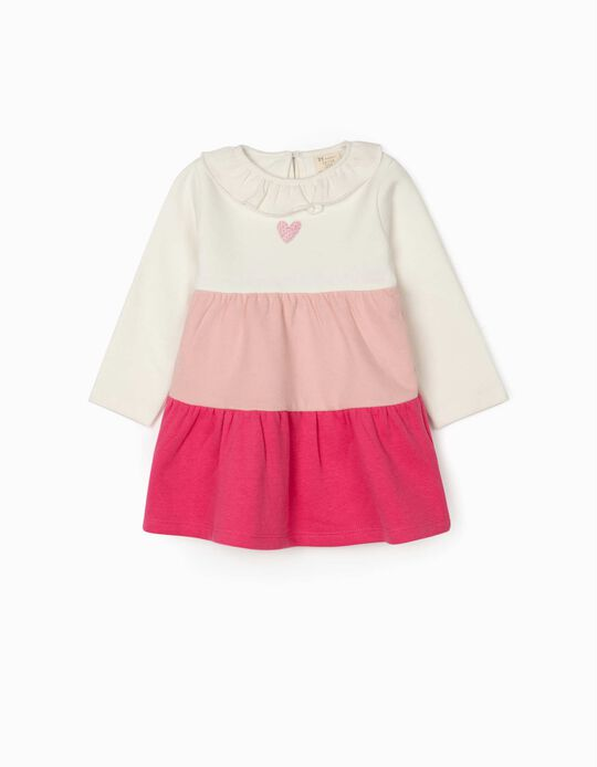 Vestido para Bebé Menina, Branco/Rosa