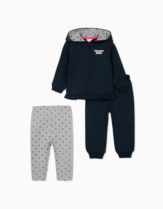 3-Piece Set for Baby Girls 'Creative Minds', Blue/Grey