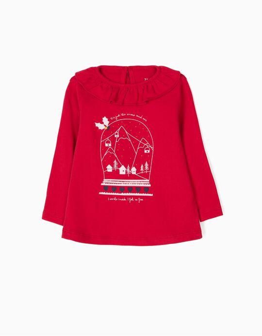 Camiseta de Manga Larga Christmas Snow Roja