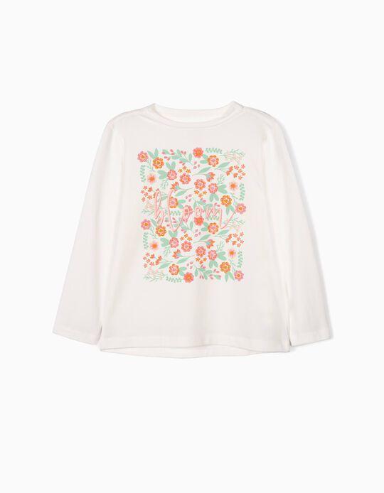 T-shirt Manga Comprida para Menina 'Blossom', Branco