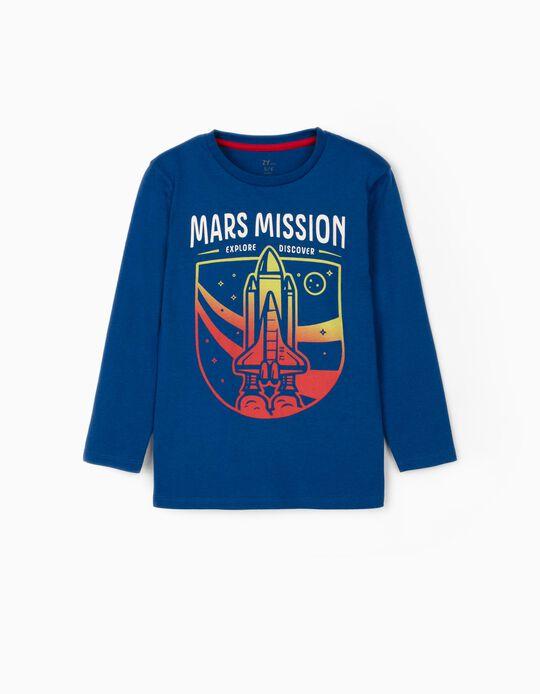 Camiseta de Manga Larga para Niño 'Mars Mission', Azul