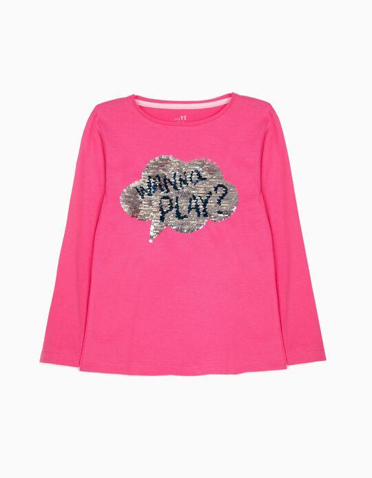 Camiseta de Manga Larga para Niña 'Play & Roll', Rosa
