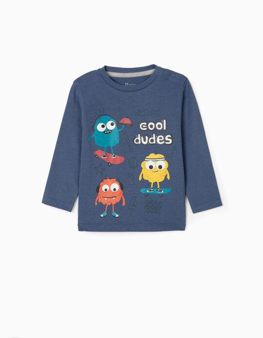 T-shirt Manga Comprida para Bebé Menino 'Cool Dudes', Azul