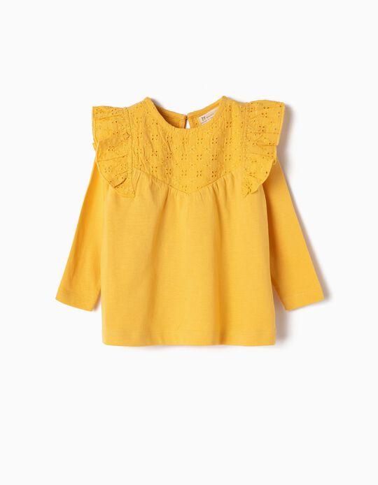 T-shirt Manga Comprida para Bebé Menina Folhos e Bordados, Amarelo