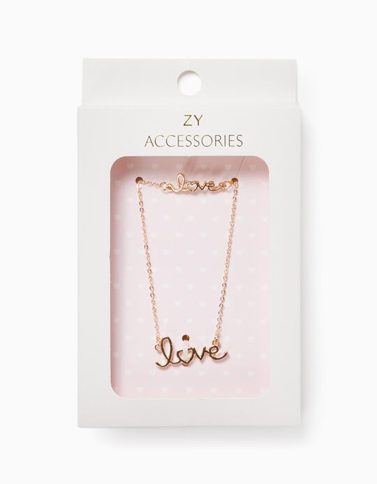 Chain and Bracelet for Girls, 'Love', Golden