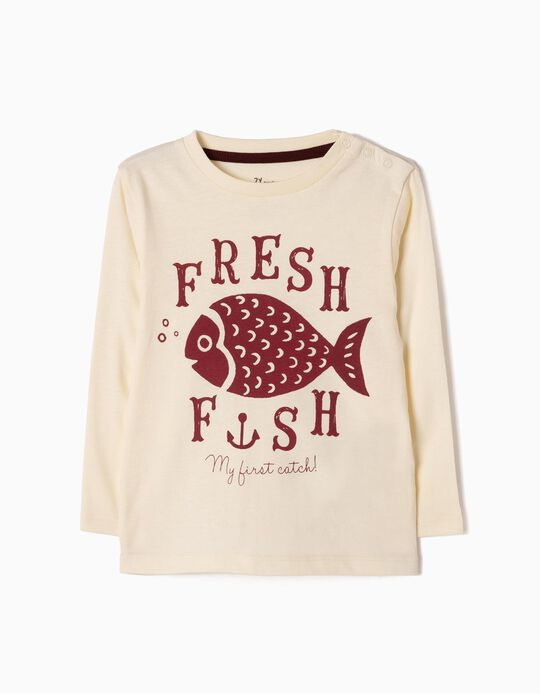 Camiseta de Manga Larga Fish Blanca