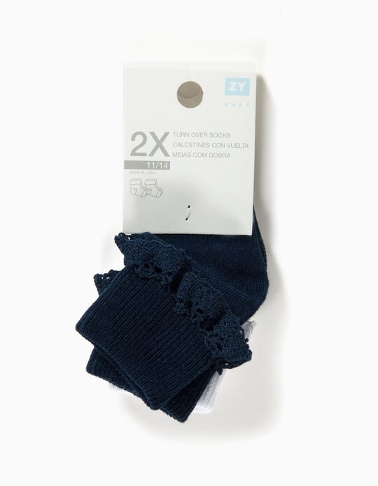 2-Pack Pairs of Socks with Lace for Baby Girls, Dark Blue