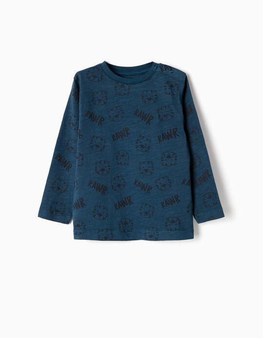 Camiseta de Manga Larga para Bebé Niño 'Rawr', Azul Oscura
