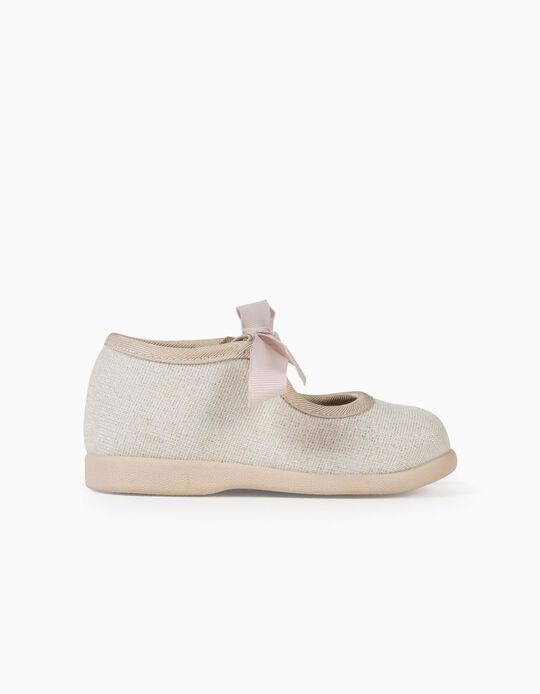 Shiny Ballet Pumps for Baby Girls, Beige