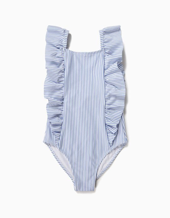 Swimsuit for Girls, Stripes & Ruffles, Blue and White