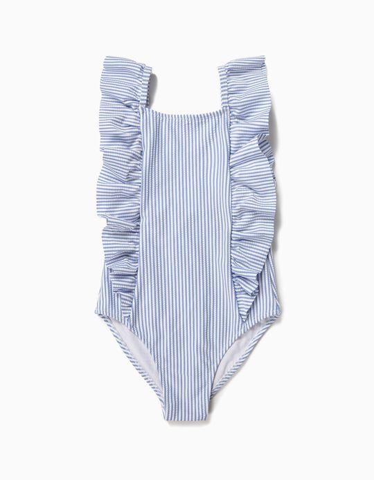 Maillot de bain fille à rayures et volants, bleu et blanc