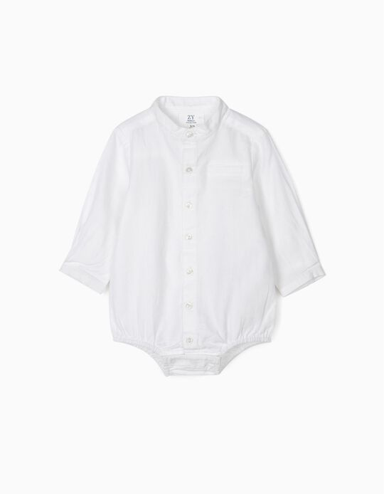 Body-Camisa com Gola Mao para Recém-Nascido, Branco