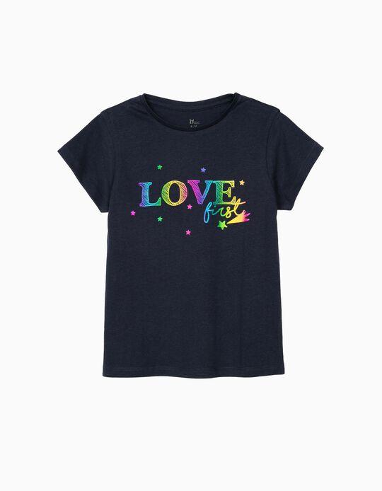 Camiseta para Niña 'Love First', Azul Oscuro