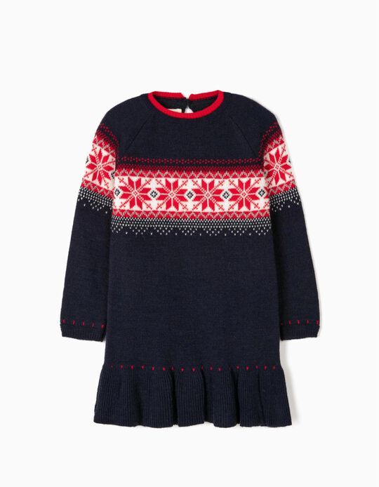 Knit Dress for Girls, Dark Blue