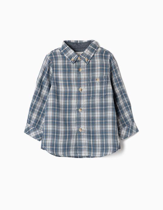 Camisa Aledrez para Bebé Niño, Azul