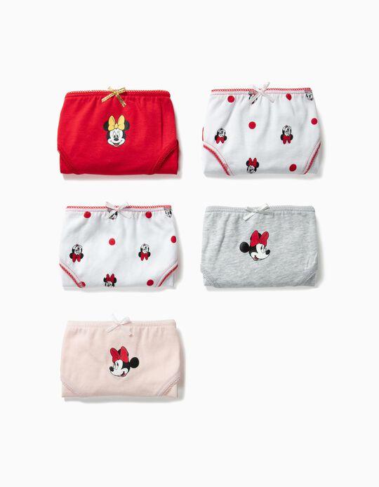 5 Cuecas para Menina 'Minnie', Multicolor