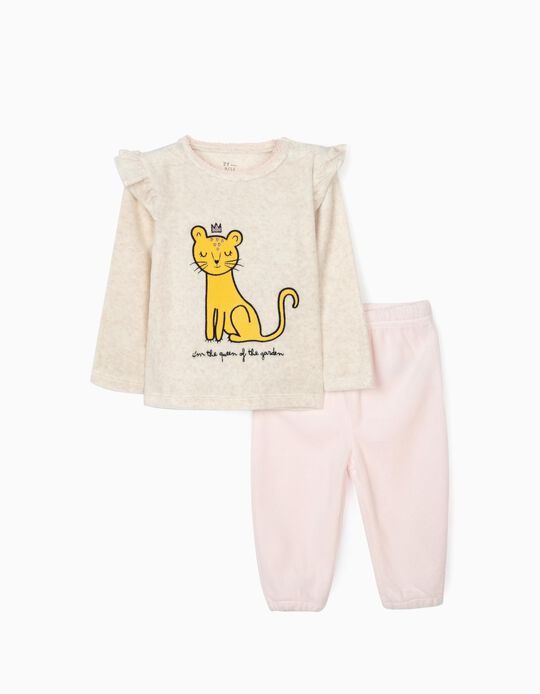 Pijama Veludo para Bebé Menina 'Queen', Bege/Rosa