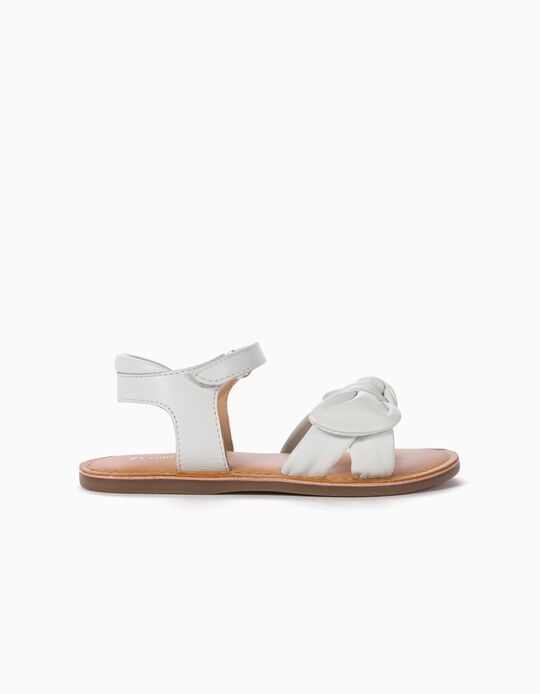 Leather Sandals with Bows for Girls, White