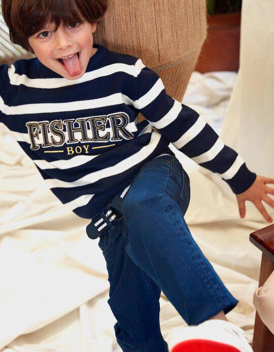 Camisola Malha para Menino 'Fisher Boy', Azul Escuro/Branco