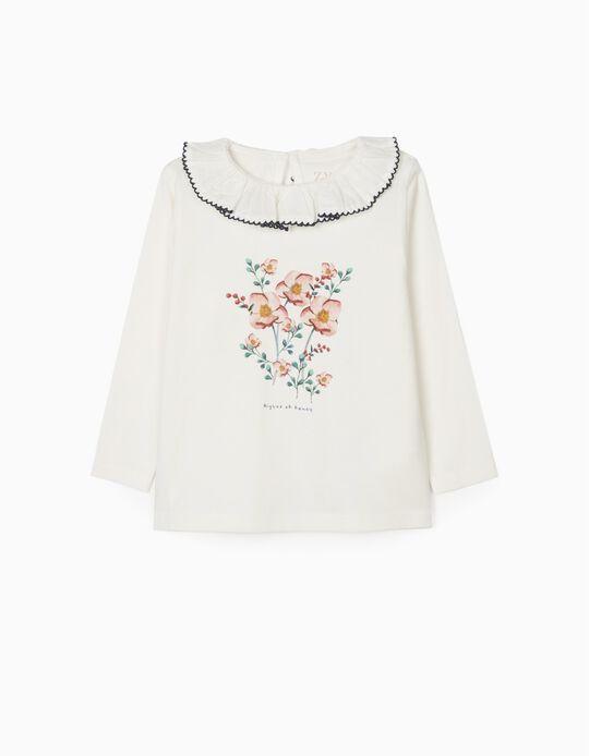 T-Shirt Manga Comprida para Bebé Menina 'Fancy', Branco
