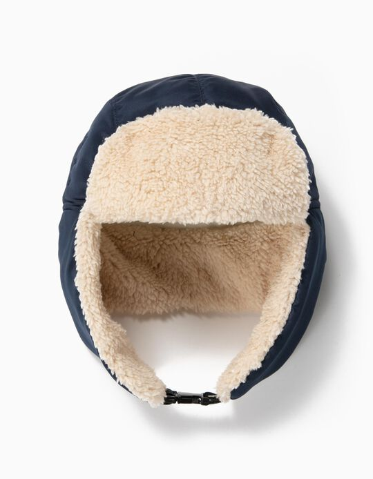 Aviator Hat with Ear Flaps for Boys, Dark Blue