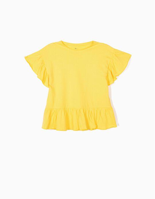 T-shirt com Folhos para Menina, Amarelo