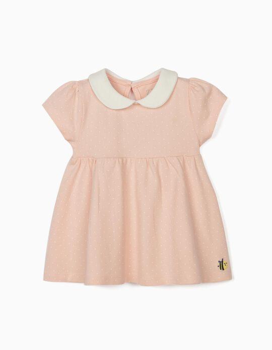T-shirt Polo para Bebé Menina 'Dots', Rosa