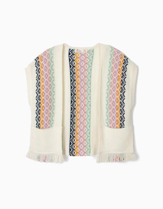 Poncho de Malha Boho para Menina, Multicolor