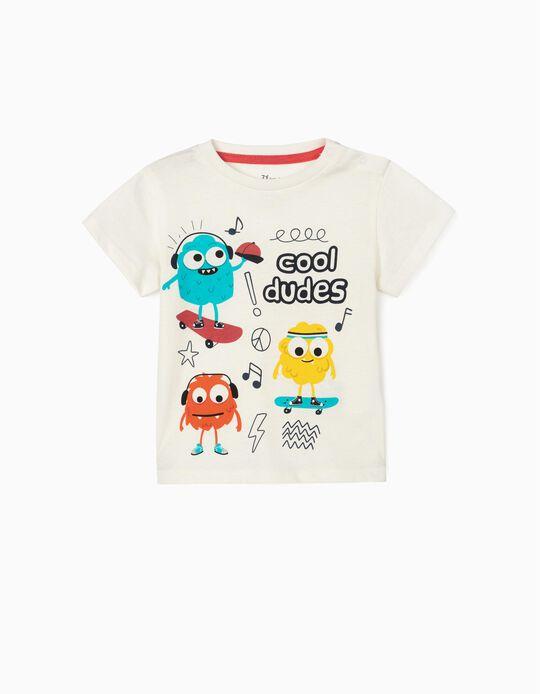 T-shirt para Bebé Menino 'Cool Dudes', Branco