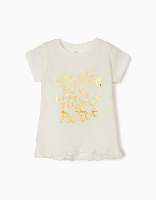 T-shirt for Girls, 'Universe', White