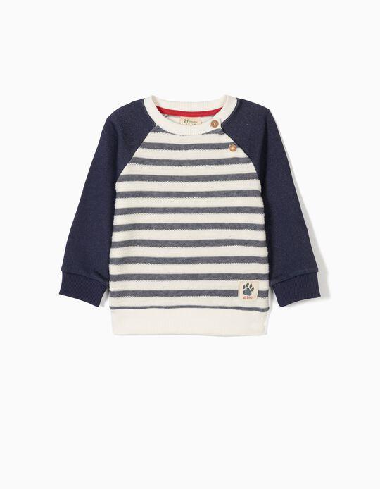 Sweatshirt for Baby Boys 'Wild & Free', Blue/White