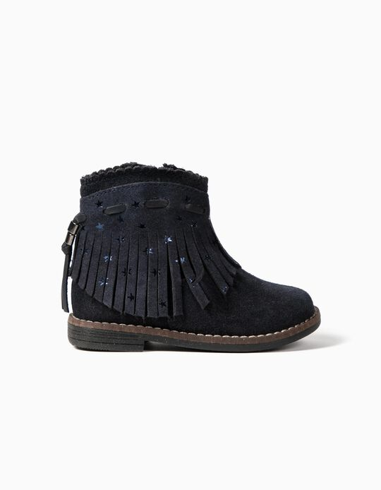 Leather Boots with Fringes for Baby Girls, Dark Blue