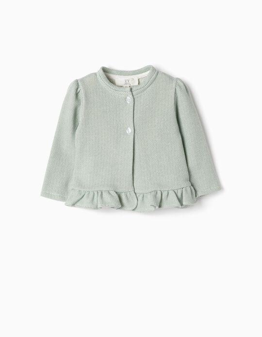 Knit Jacket for Newborn Girls, Green