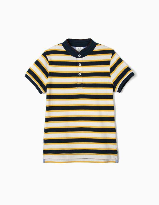 Polo para Niño con Cuello Mao y Rayas, Azul y Amarillo