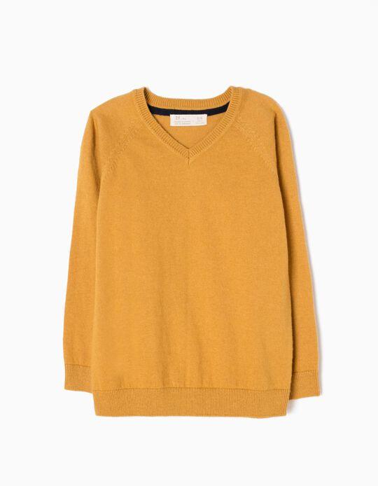 Jersey de Punto Fino Amarillo Tostado