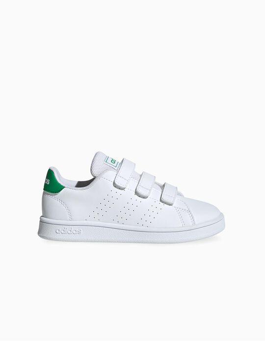Zapatillas Infantiles 'Adidas Advantage', Blanco/Verde