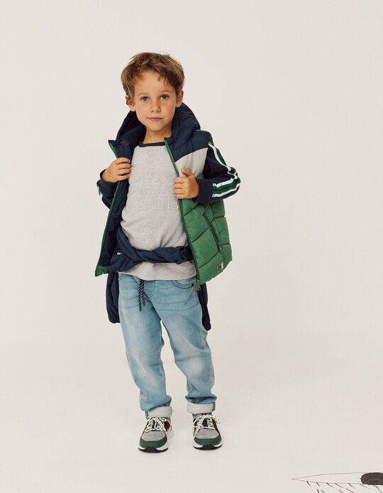 Padded Vest with Hood for Boys, Blue/Green/Grey