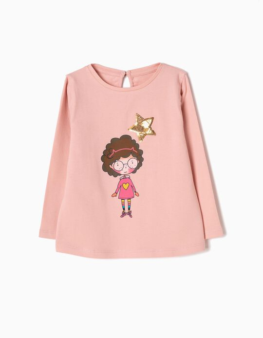 T-shirt Manga Comprida Girl Rosa