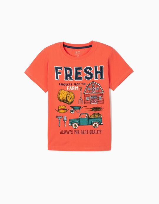 T-shirt para Menino 'Fresh', Coral