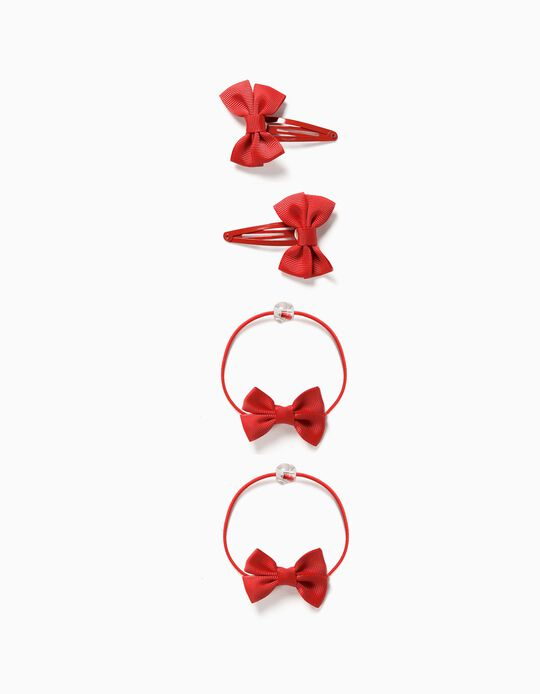2 Hair Clips + 2 Bobbles for Girls, 'Bows', Red