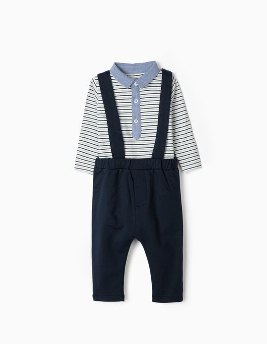 Polo Shirt Bodysuit & Trousers with Braces for Newborn Babies, Dark Blue