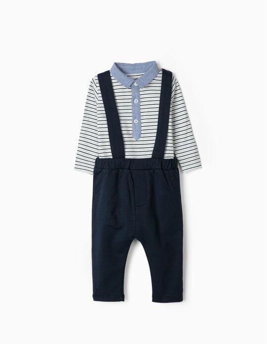Body-Polo et pantalon à bretelles nouveau-né, bleu foncé
