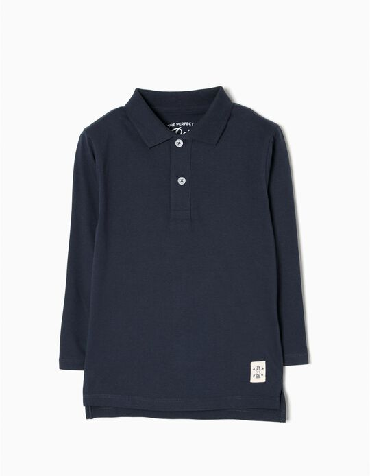 Long-Sleeved Polo Shirt for Boys, Dark Blue