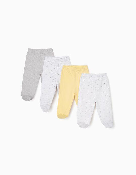 4 Pantalones con Pies para Recién Nacido, Rosa/Blanco y Gris