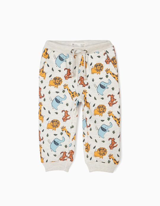 Pantalón de Chándal para Bebé Niño 'Animals', Beige Jaspeado