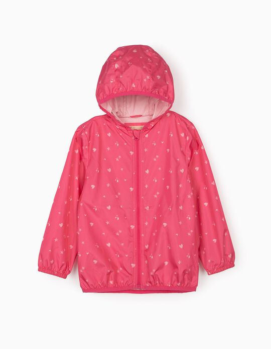 Printed Parka with Hood for Girls, Pink