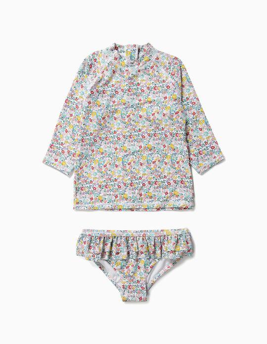 Camiseta y Bañador Culetín para Niña Flores Antirrayos UV 80, Blanco