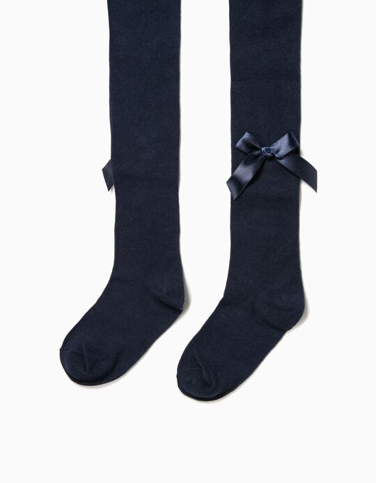 Collants de Malha para Menina com Lacinhos, Azul Escuro