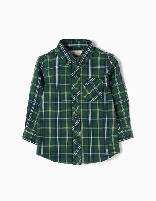 Camisa Xadrez com Bolso Verde e Amarela