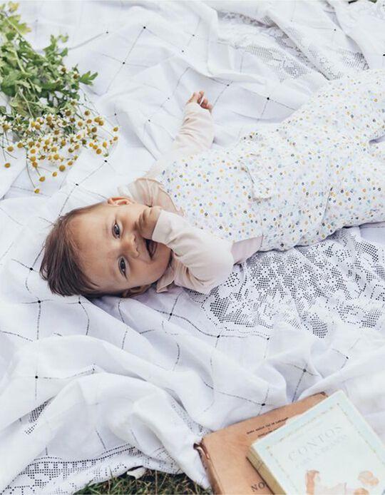 Peto para Recién Nacida 'Flores', Blanco